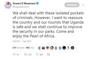 Museveni assures Ugandans and tourist on country's safety after rescuing US visitor and safari guide.