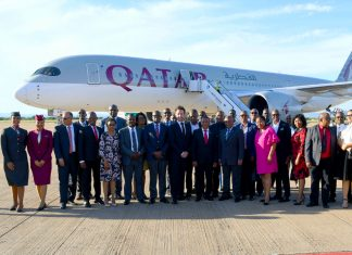 Qatar Airways jets in Gaborone, Botswana for the first time